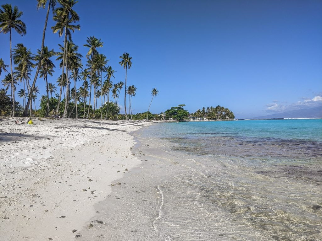 Temae Beach on the island of Moorea, One of the Best Beaches on the Island.