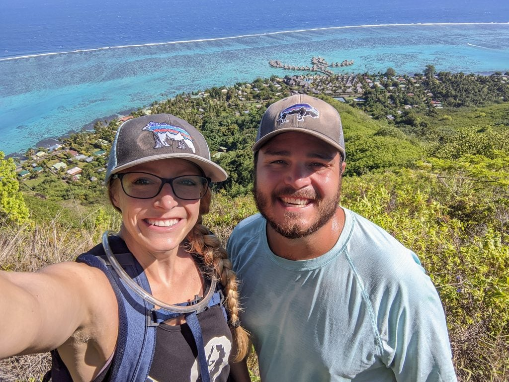 Mike & Laura At The Top of Rotui In Moorea With The Hilton In the Background