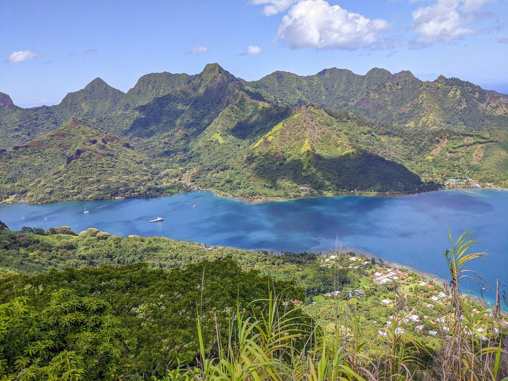 A View of Opunohu Bay From The Top of Mount Rotui in Moorea.