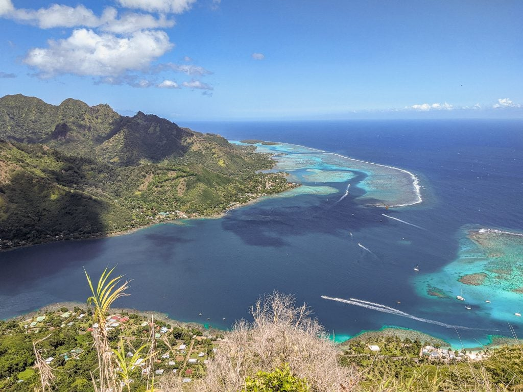 A View of Opunohu Bay And The Reef Surrounding Moorea From The Top of Mount Rotui.