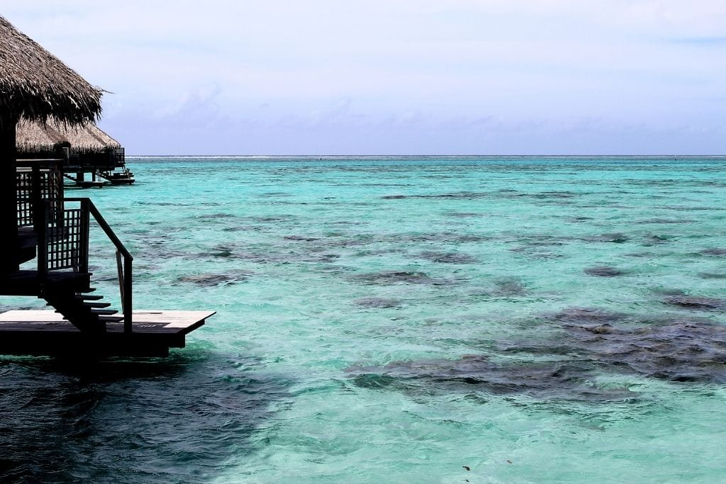 A view of the Pacific Ocean from the Hilton Moorea overwater bungalows.