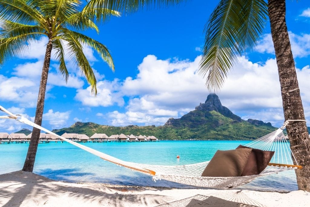 A Picture of A Hammock On The Beach in Bora Bora, French Polynesia.