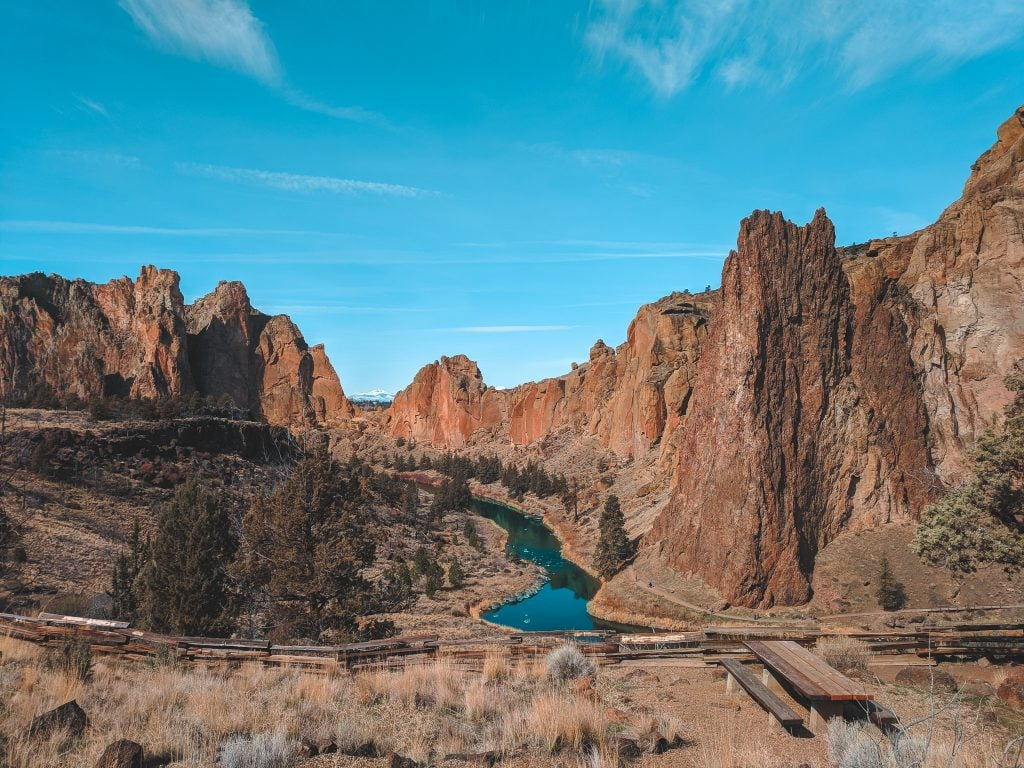 Smith Rock State Park With River Running Through.