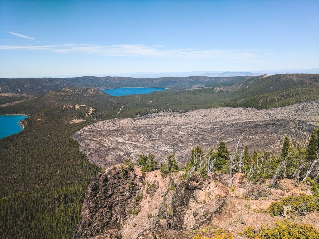 At The Top of Paulina Peak With A View of Paulina Lake and The Obsidian Flow.