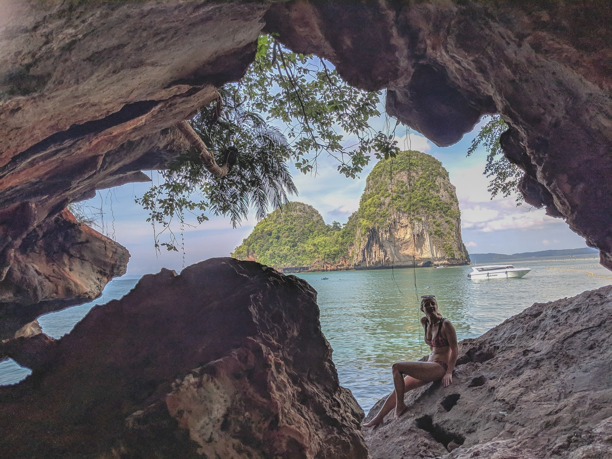 Sitting In A Cave Along The Beach In Krabi