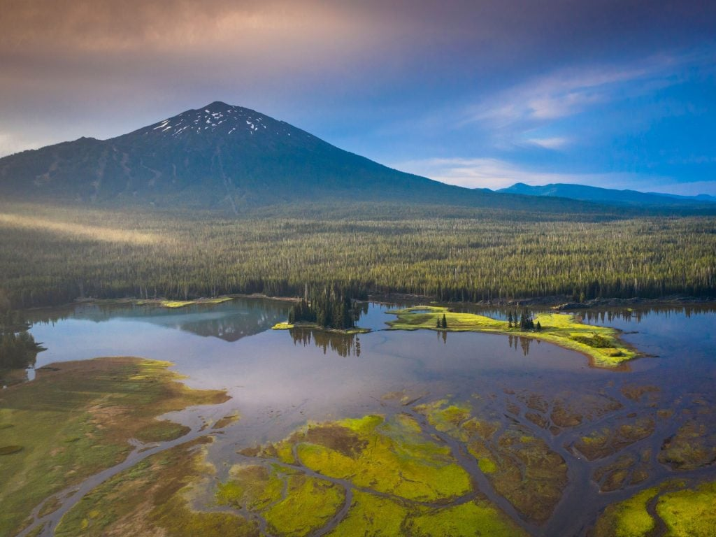 Mount Bachelor View With Lake In Foreground. An Amazing Hiking Trail Near Bend, Oregon.