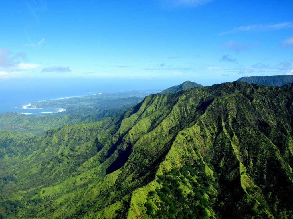 A View of Kauai From A Helicopter. Sign Up For A Helicopter Tour of The Island As One of the Best Things To Do In Kauai.
