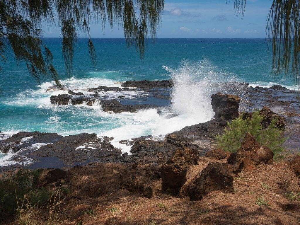 Spouting Horn Blowhole Near Poipu, Kauai.