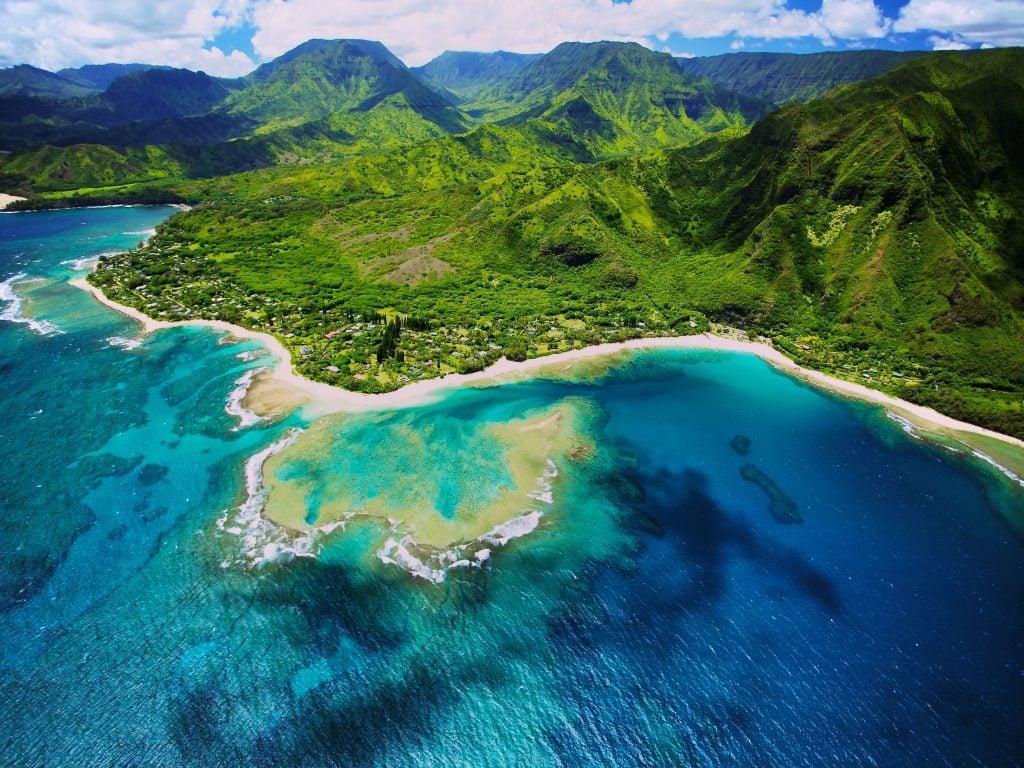 An Aerial View of Tunnels Beach in Kauai.