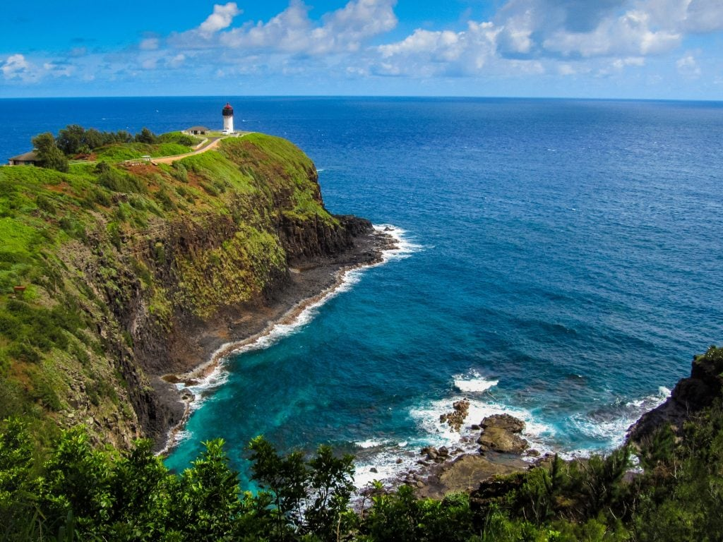 An Aerial View of the Kilauea Lighthouse on Kauai. Visit This Lighthouse As One of The Best Things To Do in Kauai.