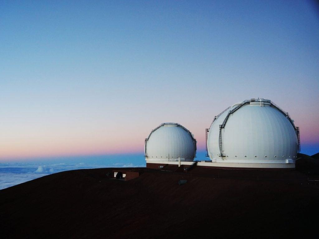 The Peak of Mauna Kea With The Telescopes.