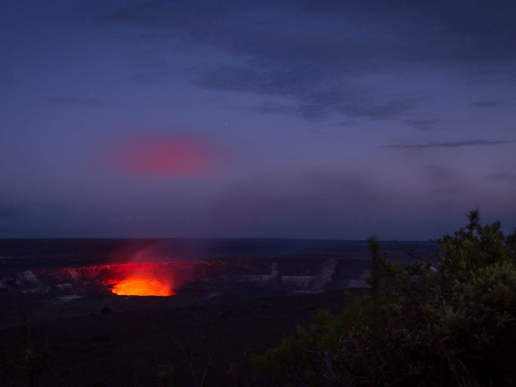Lava Glowing At Night From The Kilauea Crater.
