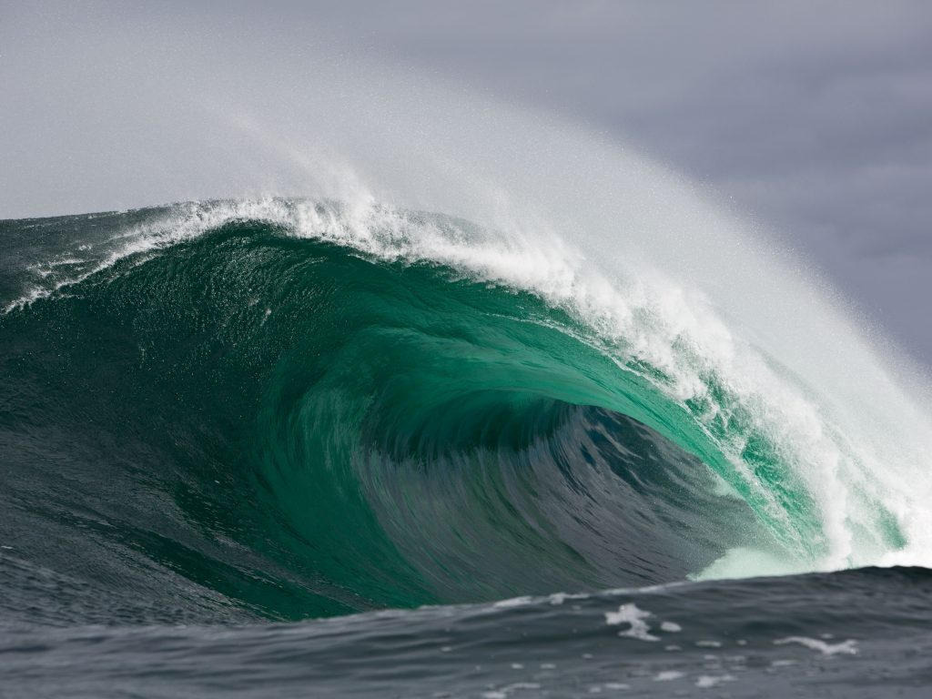 Surfing On The Big Island With A Wave Collapsing.