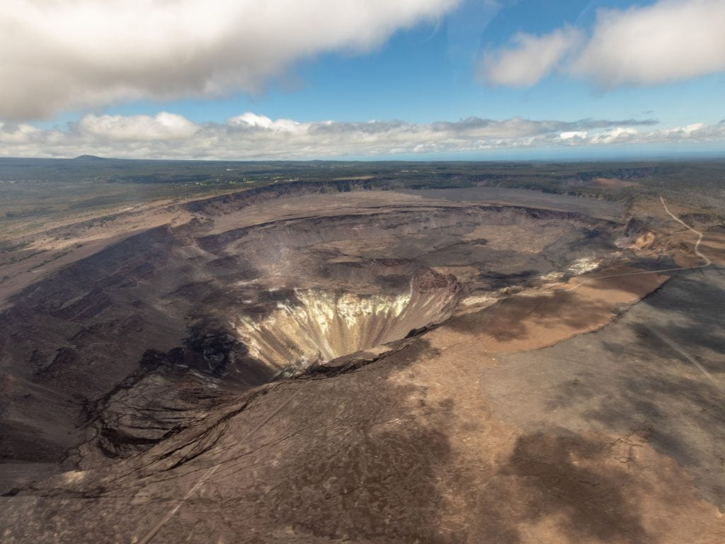 A Helicopter View of Kilauea Crater On The Big Island.