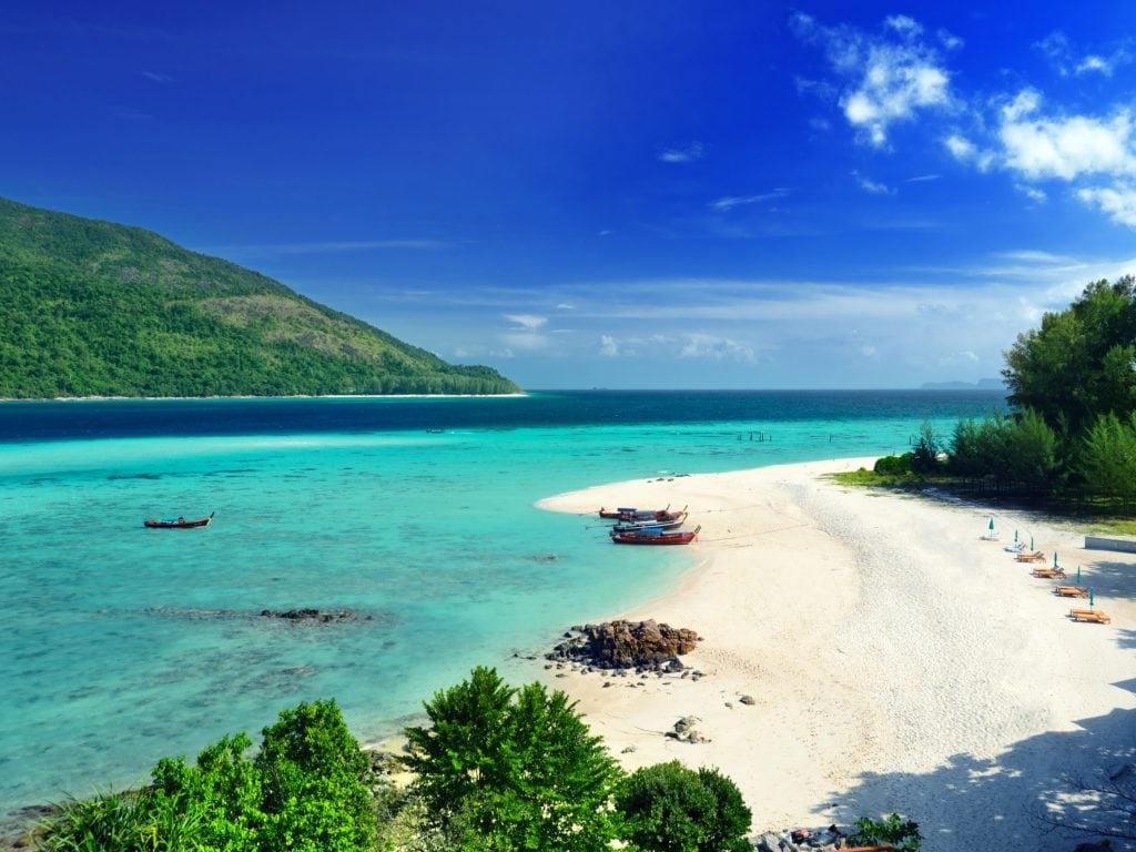 Ariel View of Koh Lipe Island. White Sand Beach and Aquamarine Ocean.