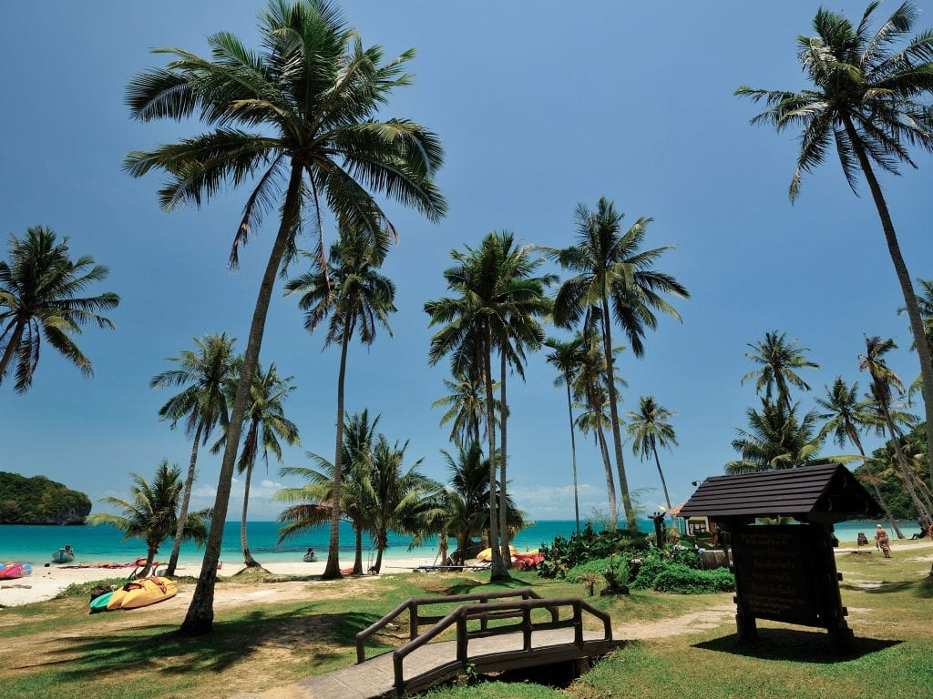 Beaches, Palm Trees, and Small Bridge On Koh Wua Ta Lap Island in Thailand.