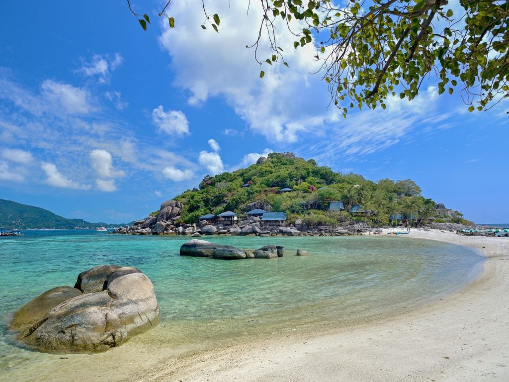 A View of Koh Tao's Beach and Small Peninsula.