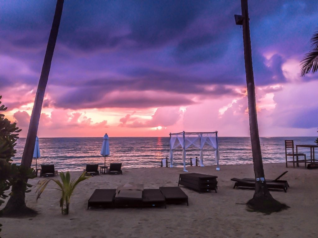 Purple Sunset On Koh Samui Beach in Thailand, A Great Stop While Island Hopping.