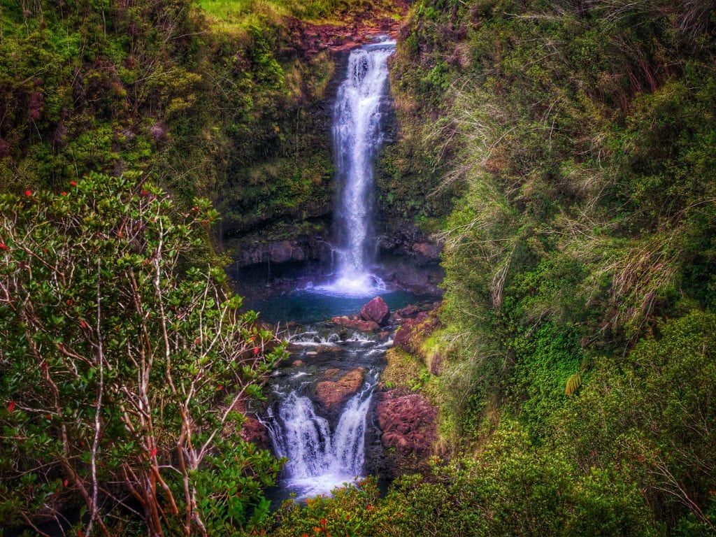 A Beautiful Waterfall In Hilo, Hawaii