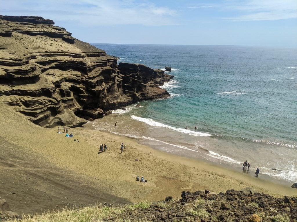Green Sand Beach On The Big Island of Hawaii.