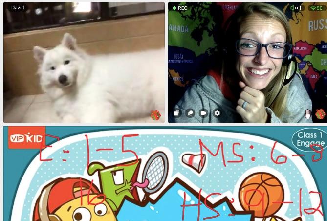 VIPKID Class With Teacher Laura and a Dog!