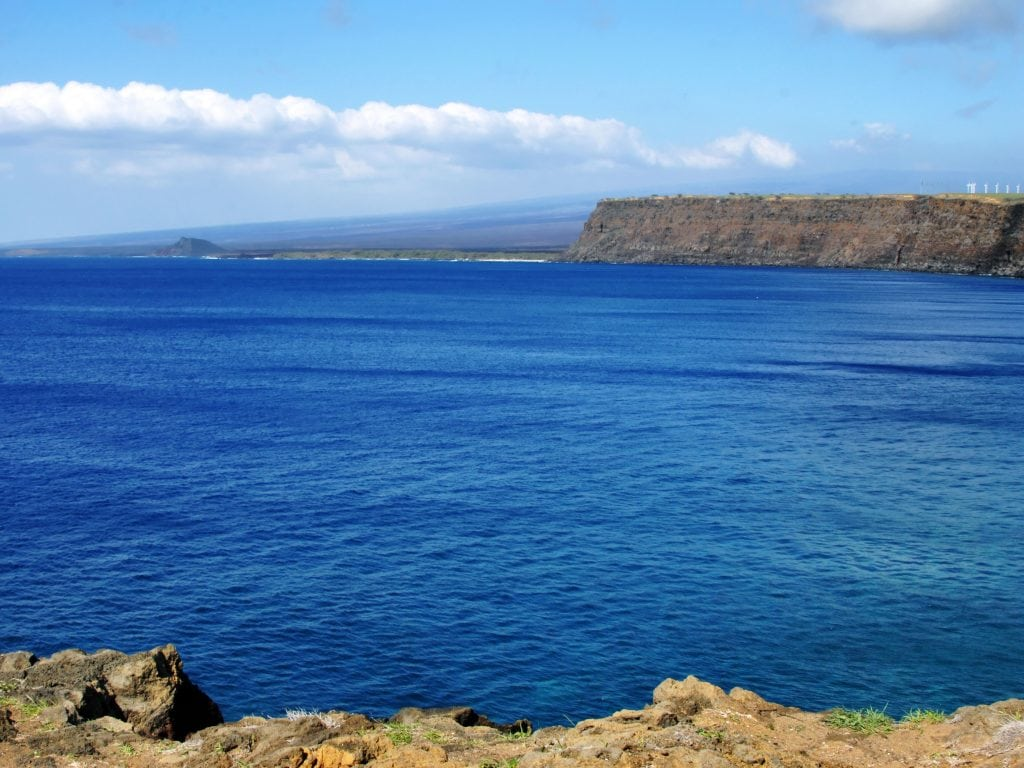 A view of the Pacific Ocean from the Southern Tip of the Big Island of Hawaii.