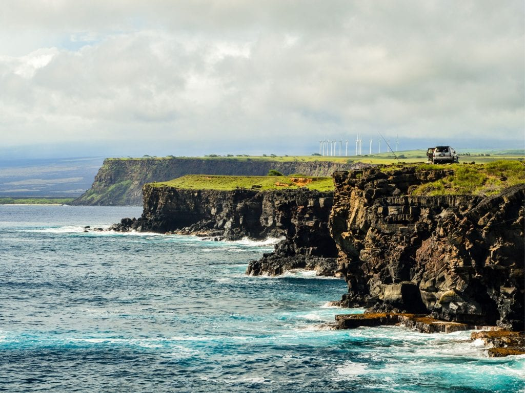 Horizontal View of the Cliffs on the Southern End of Hawaii.