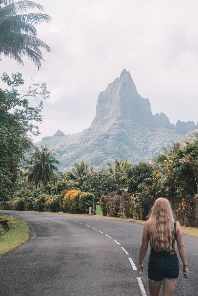 Walking Down The Streets In French Polynesia With Cloudy Skies.