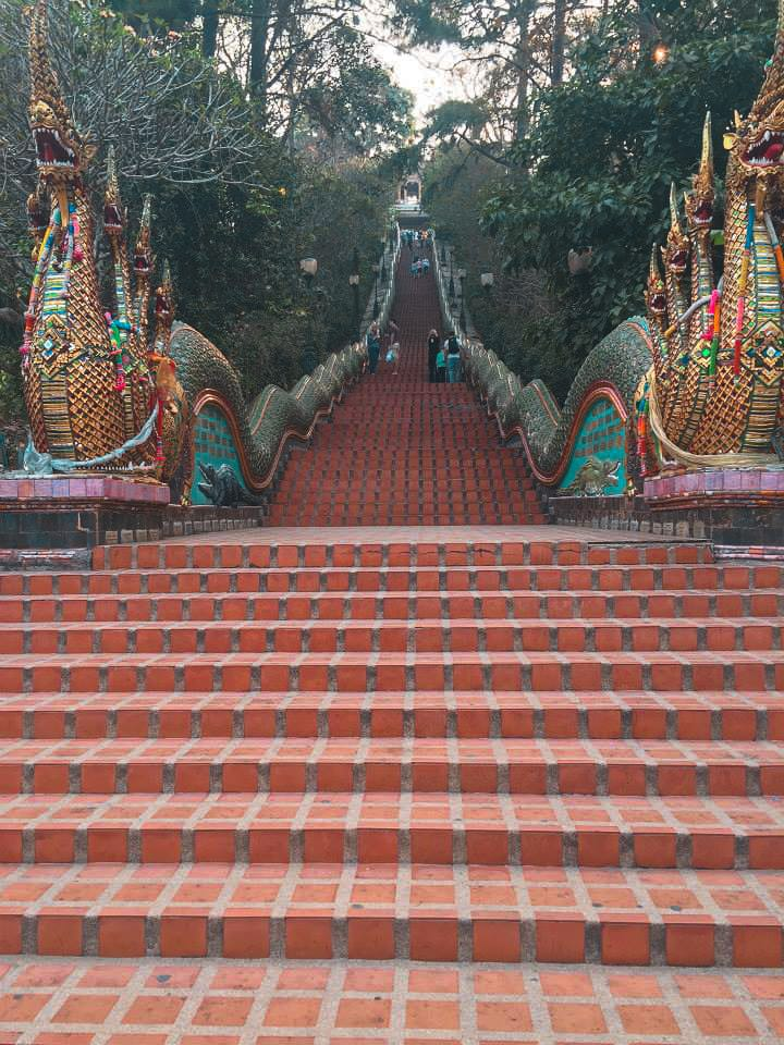 The 300 Steps Leading Up To Doi Suthep in Chiang Mai.
