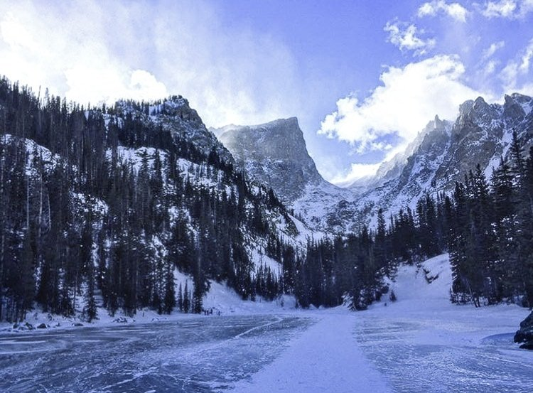 A View of Dream Lake From The Frozen Lake Below, One of the Best Day Trips From Denver.