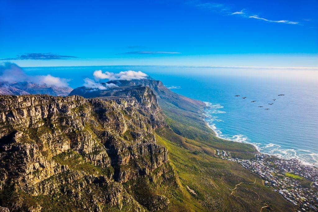 A View of the Ocean and Cliffs in Cape Town During A Hiking Excursion.