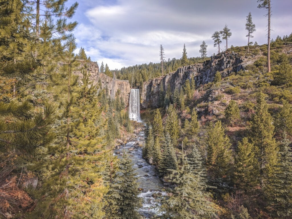 A View of Tumalo Falls, A Great Place To Go Camping Near Bend, Oregon.
