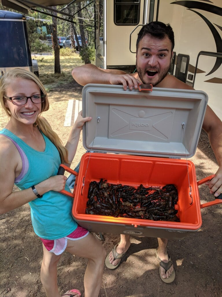 Catching Crawdads at Sunriver Thousand Trails - A Great Place For Camping Near Bend, Oregon.