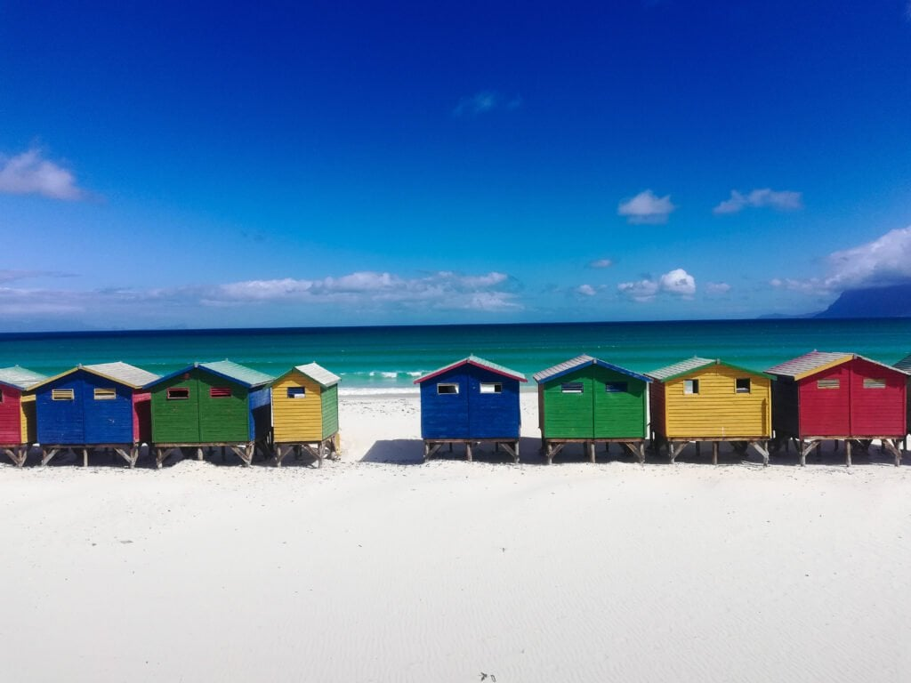 A View of the Colorful Houses on Muizenberg Beach in Cape Town South Africa.