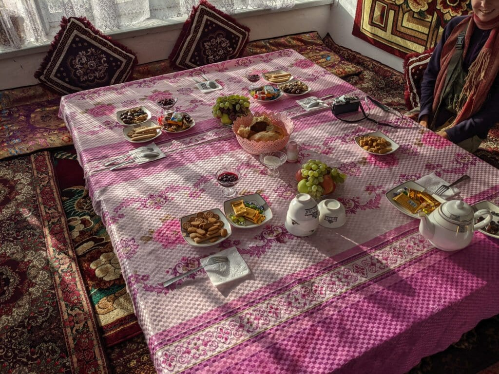 A Table Set At A Homestay in Sary Mogol, A Short Drive From Osh, Kyrgyzstan.