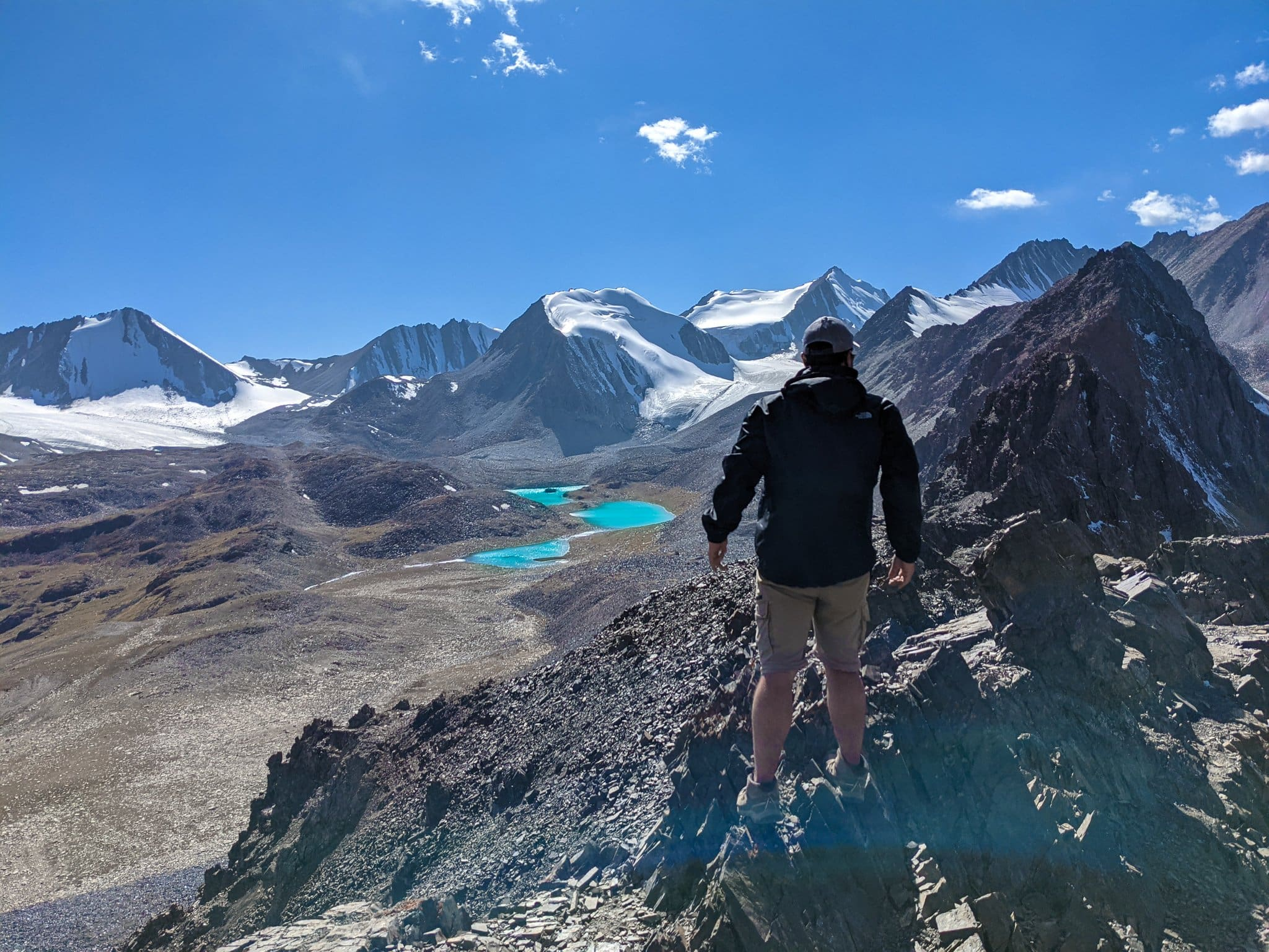 Standing On Top of Sary Mogol Pass Looking Out To Beshkol Lake