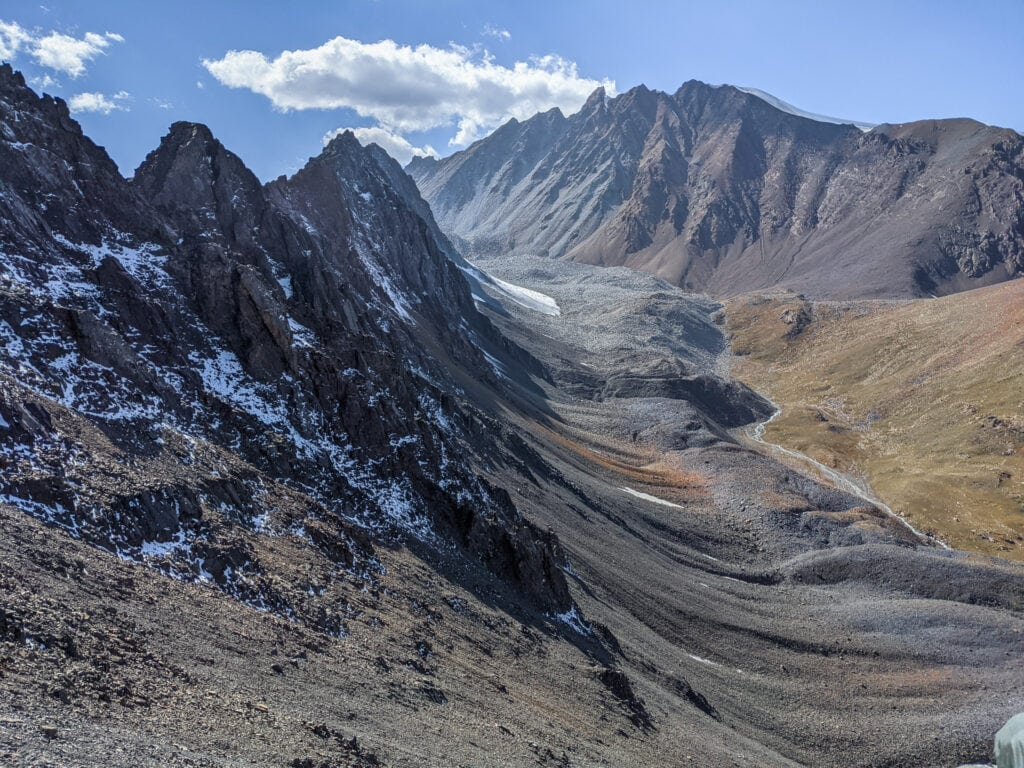 Walking Down From Sary Mogol Pass in the Alay Mountains.