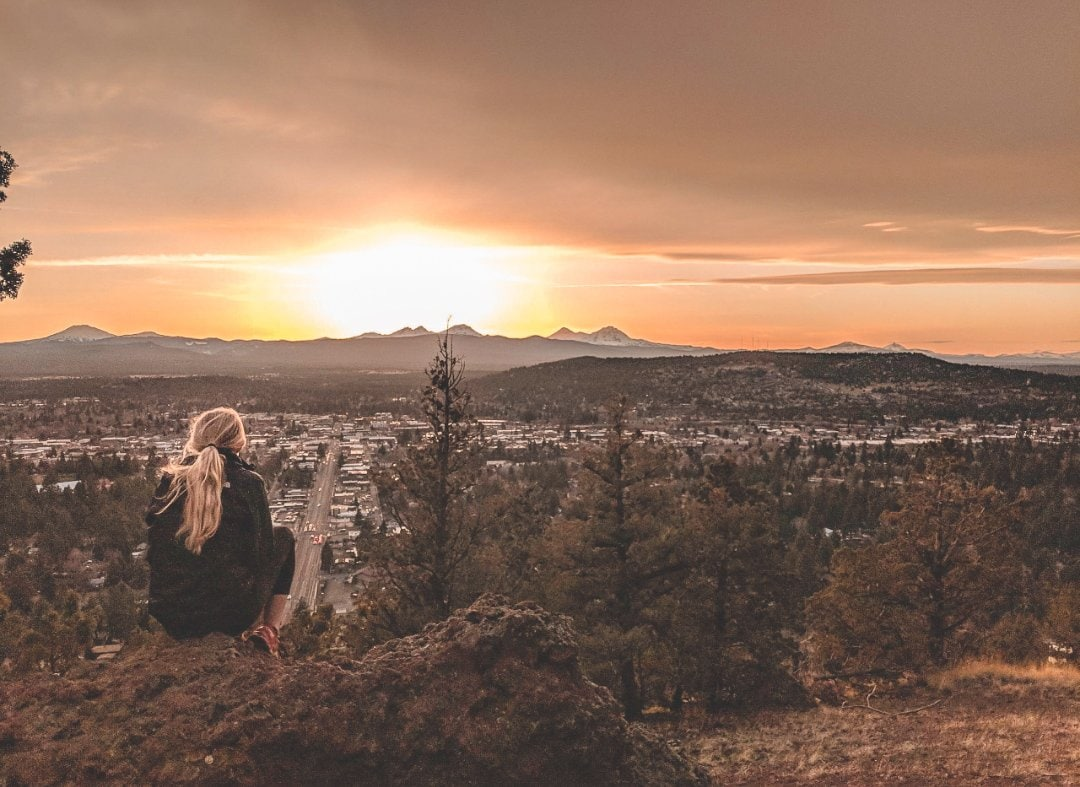 Sitting on the Edge of Pilot Butte in Bend, Oregon.