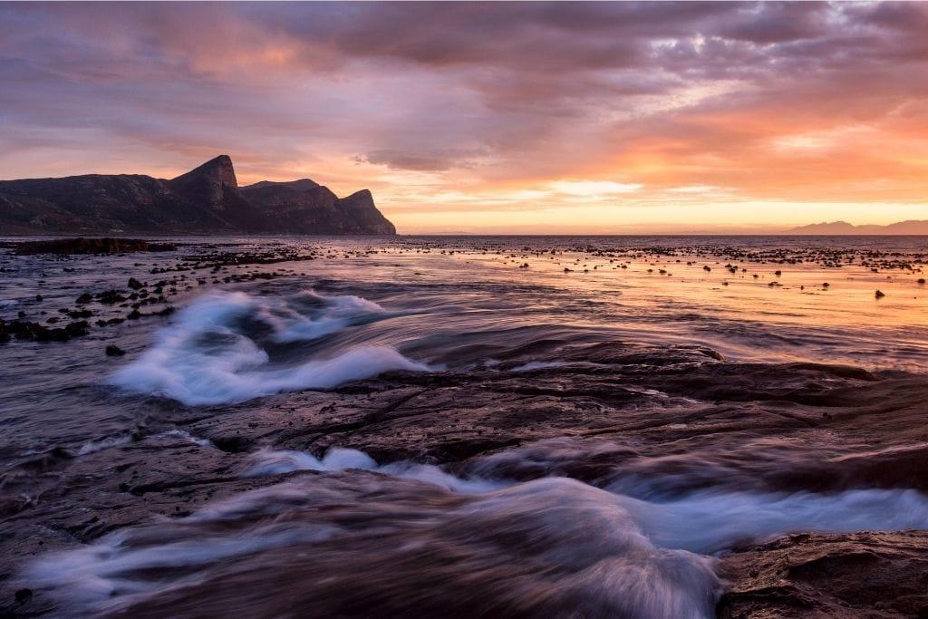 Smitswinkel Beach in Cape Town During Sunset.
