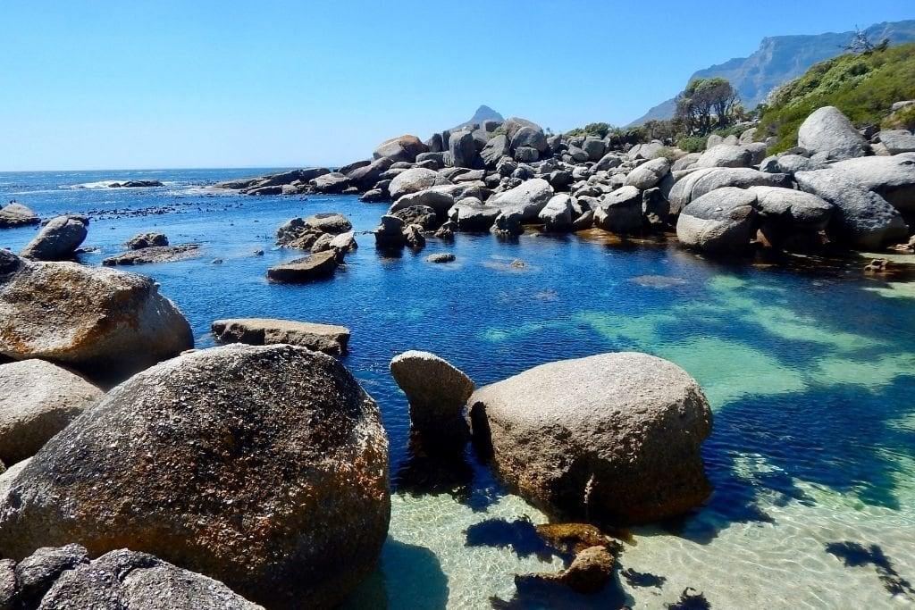 Oudekraal Beach Rocks and Blue Ocean Water.