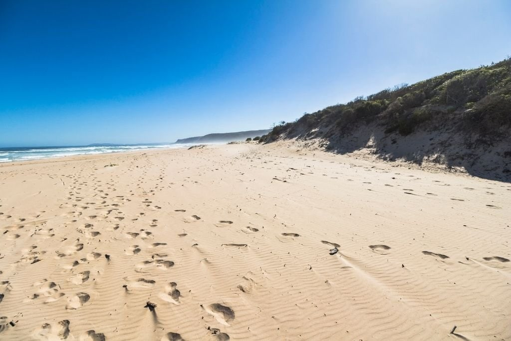 Footprints in the Sand at Long Beach In Cape Town.