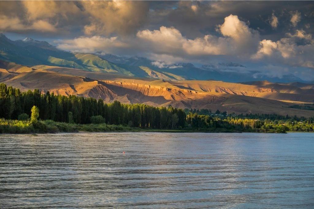 Issyk Kul Lake At Sunset In Kyrgyzstan.