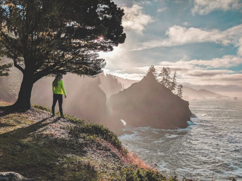 Standing On A Cliff In Brookings, Oregon, One of the Many Coast Towns To Explore.
