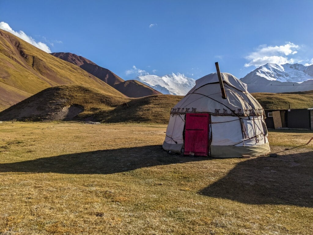 A Picture of a Yurt in the Mountains of Kyrgyzstan
