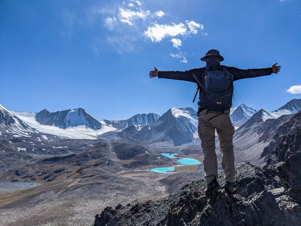 Standing At The Top of Sary Mogol Pass In Kyrgyzstan.