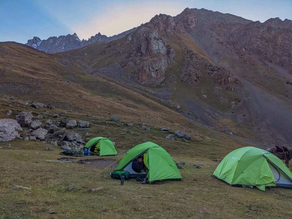 Tents In The Valley For Camping In Southern Kyrgyzstan.